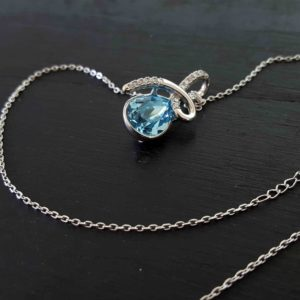 Blue Tear Drop Swarovski Necklace