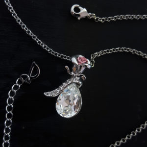 Pink Rose Tear Drop Swarovski Necklace
