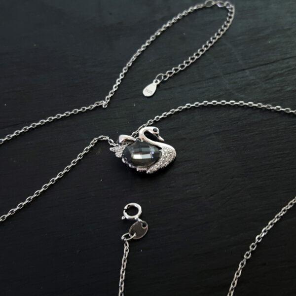 Black Swan Necklace Swarovski