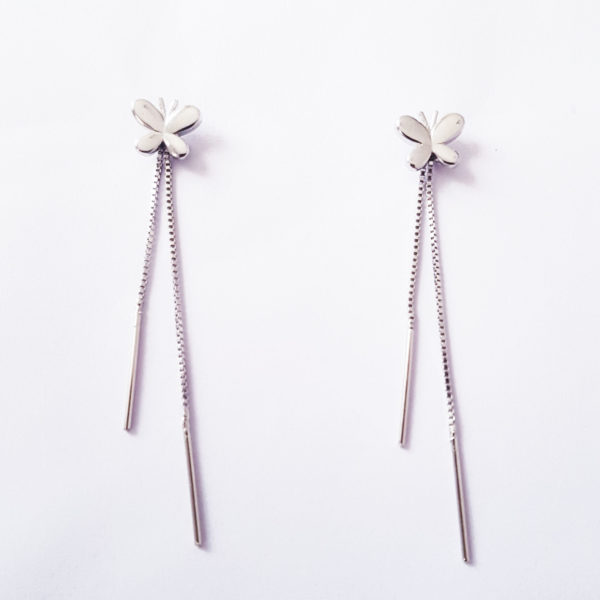 Butterfly-Silver-Earring-Stud-With-Drop-Silver-Bar,-Sterling-Silver