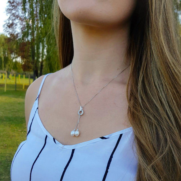 Elegant White Double Drop Pearl Necklace Cubic Zirconia AAA Grade Pearl