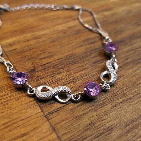 Purple Cubic Zirconia Infinity Bracelet