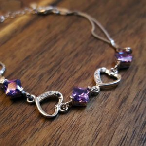 Purple Cubic Zirconia Heart Bracelet
