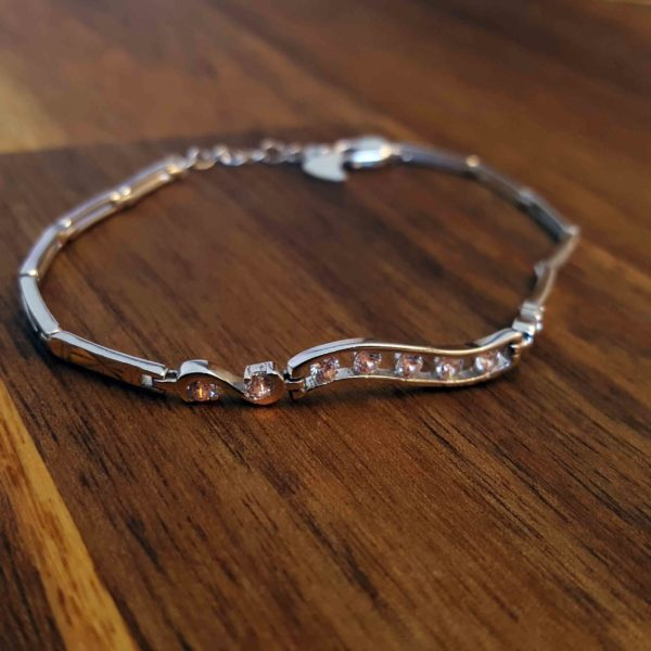 Silver Box Link Chain With Cubic Zirconia Bracelet