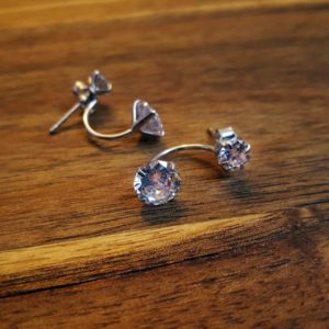 Silver Clear Cubic Zirconia Stud Earring