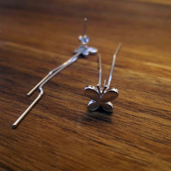 Butterfly Silver Earring Studs With Drop Silver Bar
