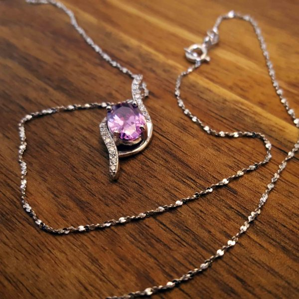Purple Cubic Zirconia Necklace, Sterling Silver