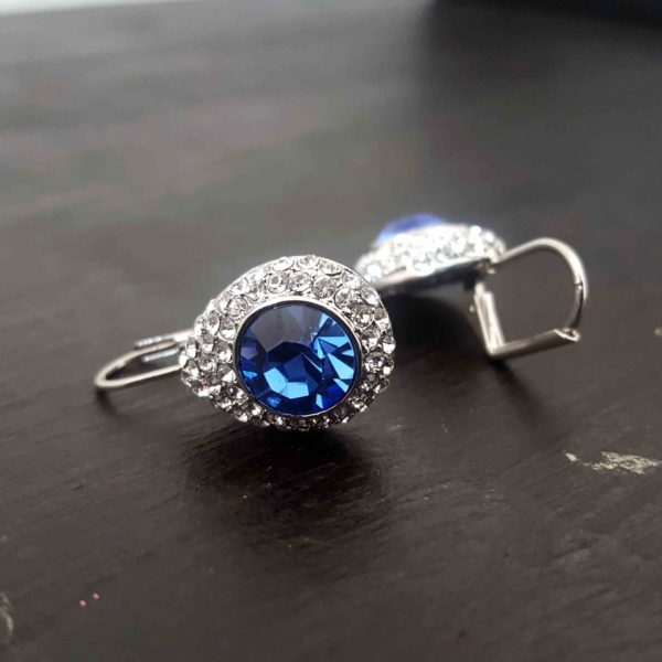 Royal Blue Round Swarovski Leverback Earring