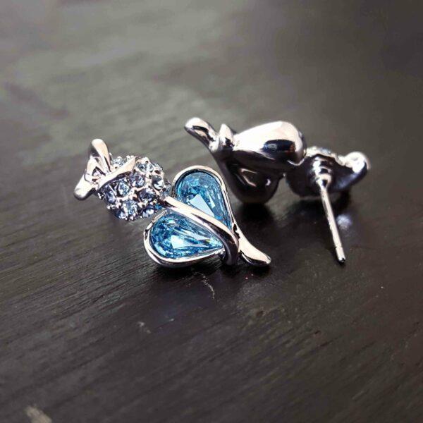 Blue Rose Heart Swarovski Stud Earring