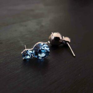 Blue Double Swarovski Stud Earring