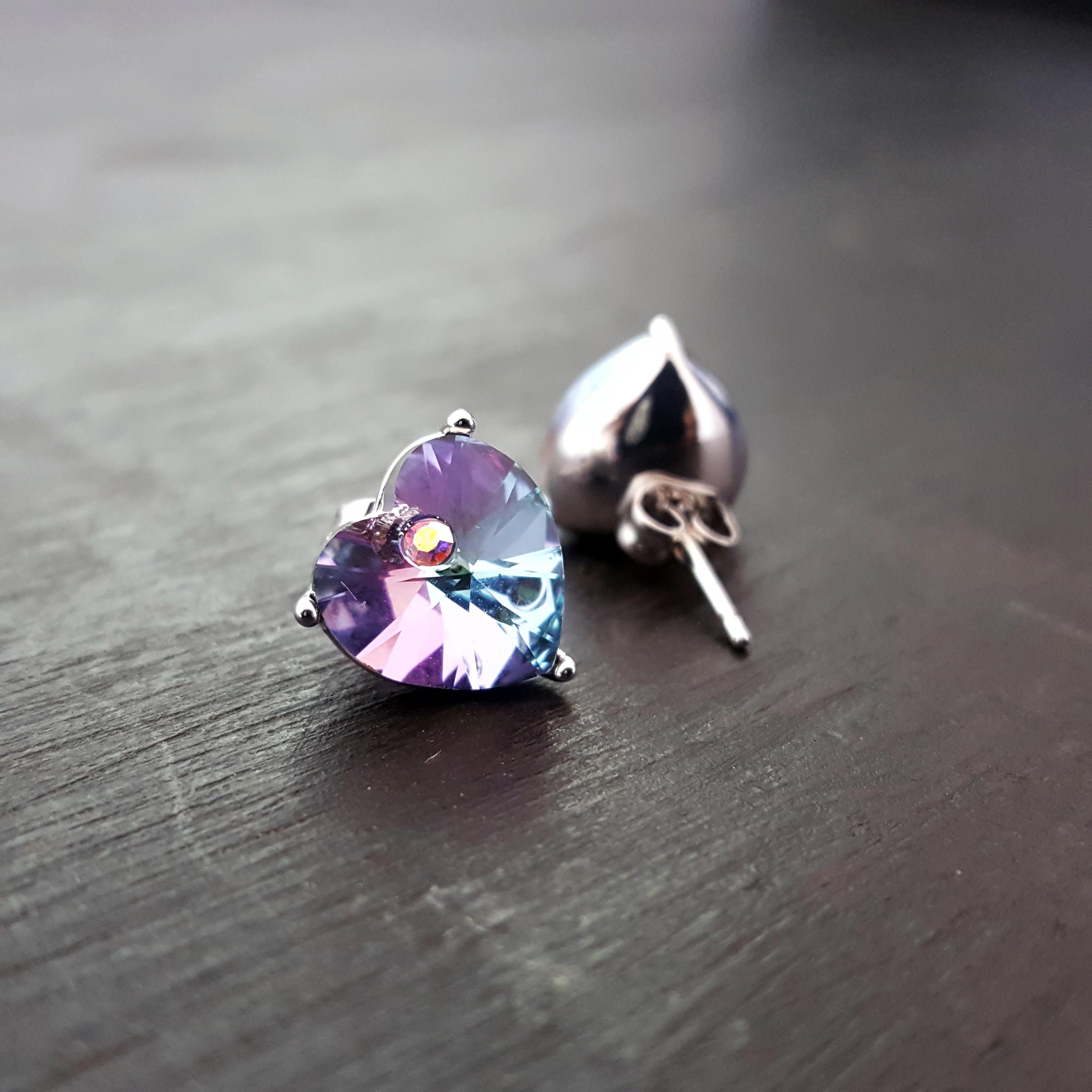 Purple Stone Heart Swarovski Earrings