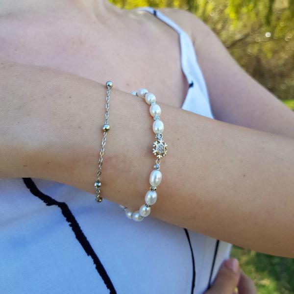 Lustre White Pearl Snowflake Bracelet AAA Grade Pearl