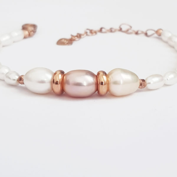 Multi Colour Drop Pearl And White Rice Pearl Bracelet AAA Grade Pearl