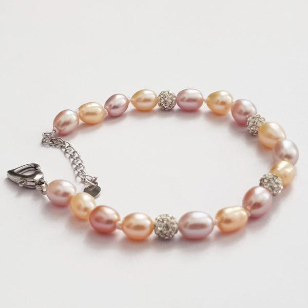 Multi Colour Drop Pearl Bracelet With Glitter Ball AAA Grade Pearl