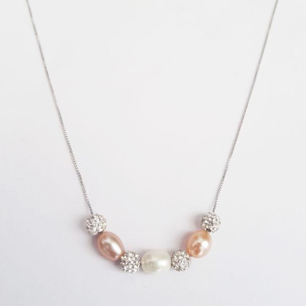 Multi Colour Drop Pearl Glitter Ball Necklace Cubic Zirconia AAA Grade Pearl