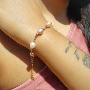 Multi Colour Drop Pearl Link Bracelet AAA Grade Pearl