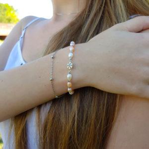 Multi Colour Pearl Snowflake Bracelet AAA Grade Pearl