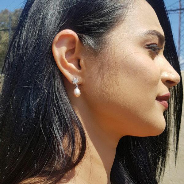 Pink Drop Pearl Stud Earring Flower Cubic Zirconia AAA Grade Pearl