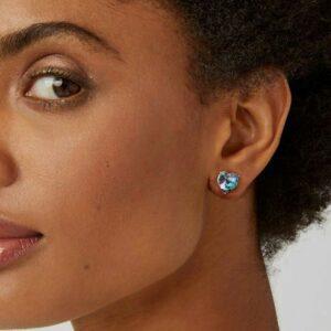 Purple Blue Tone Heart Swarovski Stud Earring