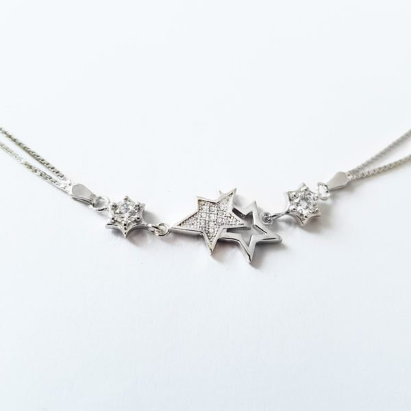 Star Silver Bracelet With Clear Cubic Zirconia , Sterling Silver