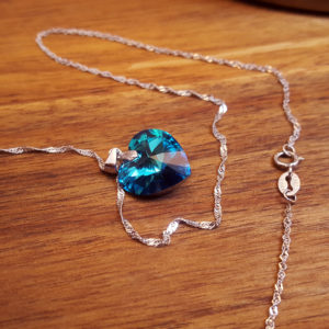 Blue Heart Necklace Swarovski, Sterling Silver