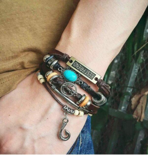 Best Friend Bracelet with Leather Straps