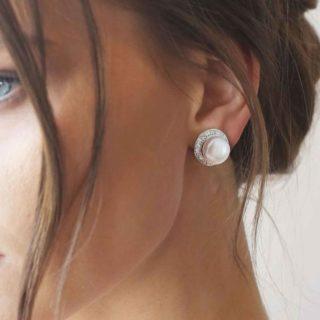 Elegant Lustre White Pearl Button Earring thehouseofjd.com