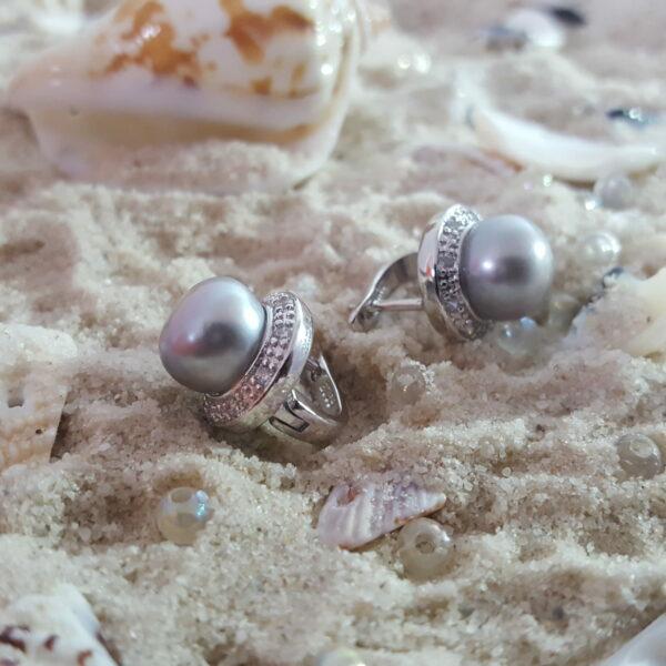 Elegant Silver Grey Pearl Button Earring thehouseofjd.com