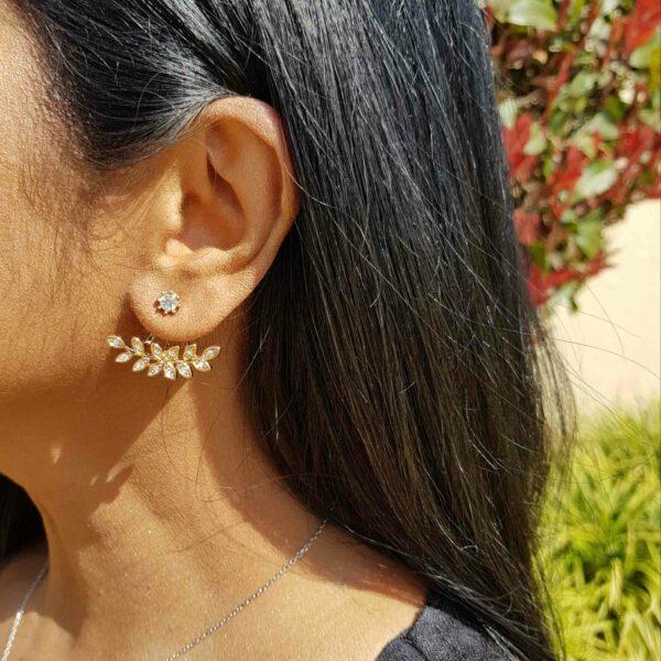 Leaf Stone Gold Stud Earring
