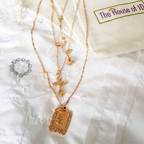 3 in 1 Gold Layered Cross And Rose Necklace