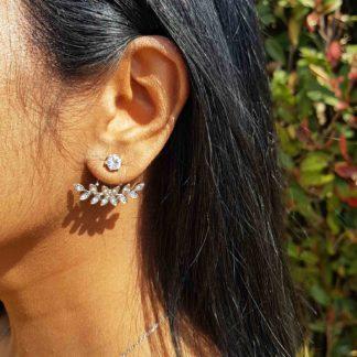 Silver Leaf Stone Stud Earring thehouseofjd.com