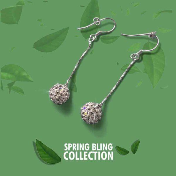 Sterling Silver Glitter Ball Dangle Earrings thehouseofjd.com