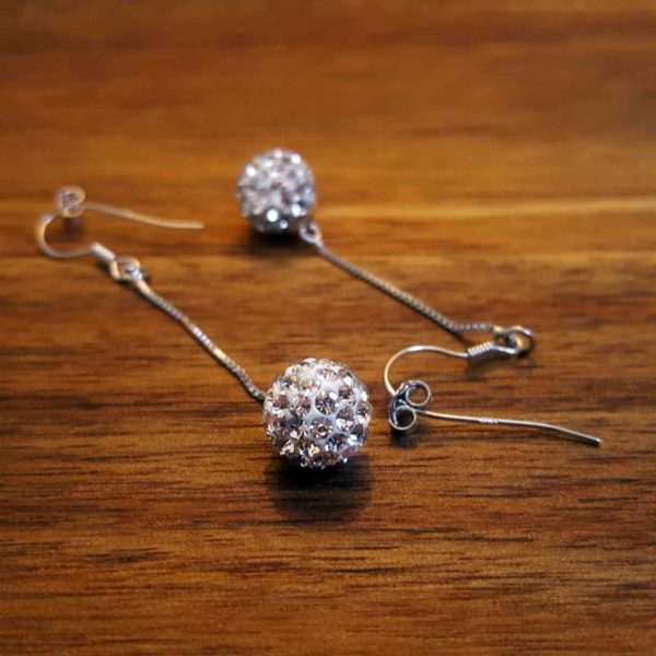 Sterling Silver Glitter Ball Dangle Earrings thehouseofjd.com