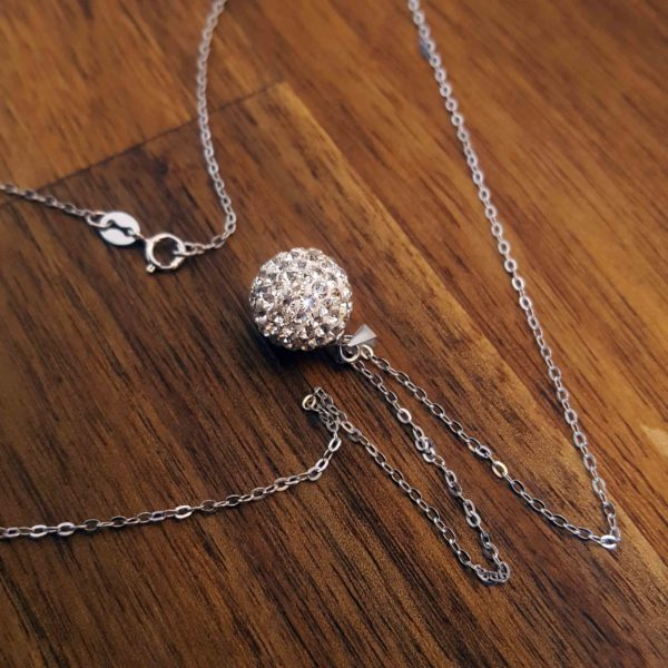 Sterling Silver Glitter Ball Necklace thehouseofjd.com