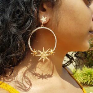 Gold 3 Star studded Hoop Earring