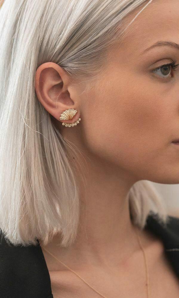 Japanese Fan Gold Earring