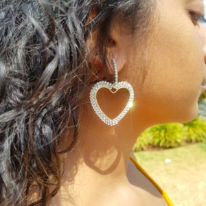 Silver Love Heart Diamante studded hoop Earring