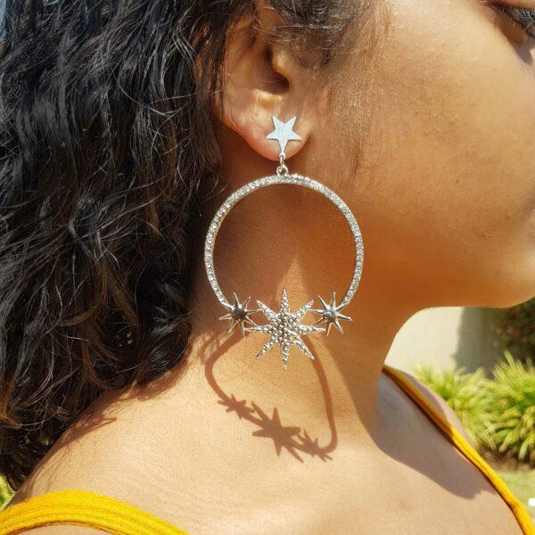 Silver 3 Star studded Hoop Earring