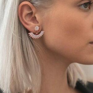Sun Flower Rose Gold Stud Earring