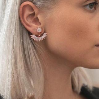 Sun flower rose gold earring