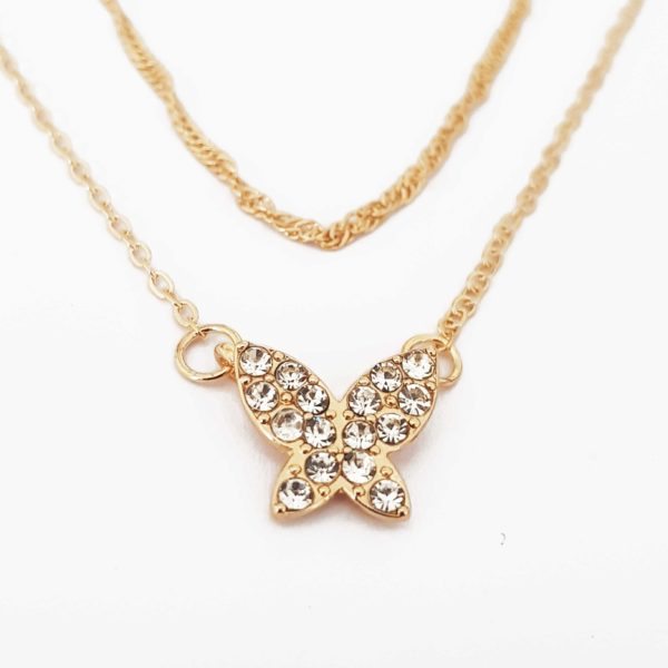 Gold Butterfly Layered Necklace