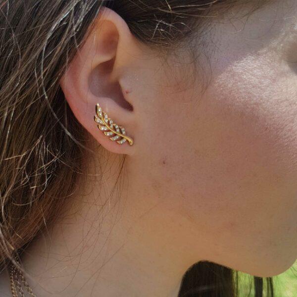 Leaf Ear Climbers Gold Earring