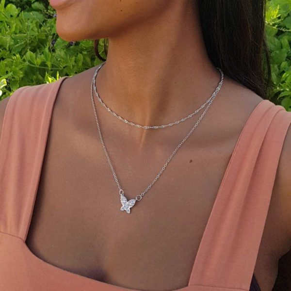 Silver Butterfly Layered Necklace