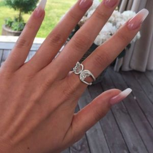 Adjustable Butterfly Ring In Silver