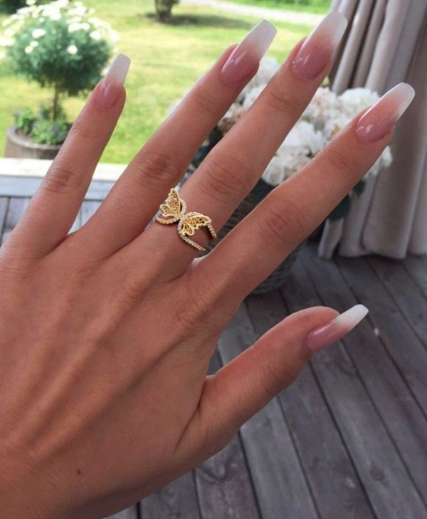 Adjustable Butterfly Ring in Gold, Sterling Silver