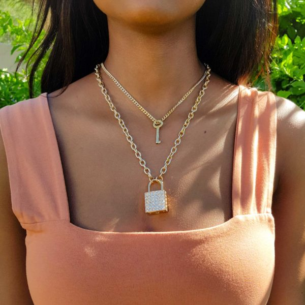 Gold Padlock and Key Chain Necklace