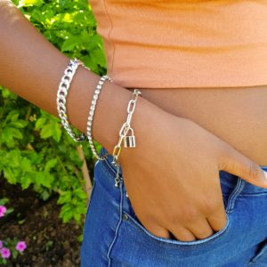 Mini Padlock Bracelets, Stacked with Cuban Chain, Paper clip, Tennis Bracelet
