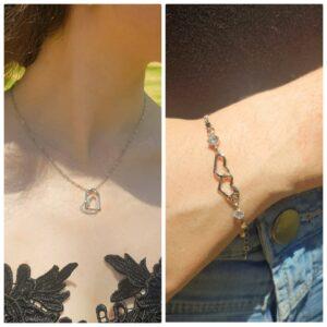 Heart Necklace and Heart Bracelet Set