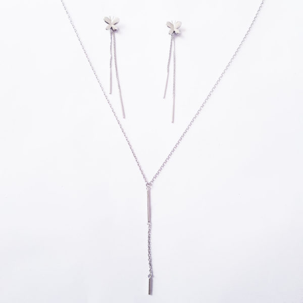 Silver-Butterfly-Stud-Earring-And-Silver-Bar-Necklace-Set,-Sterling-Silver