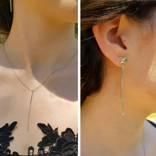 Silver Butterfly Stud Earring andSilver Bar Necklace Set
